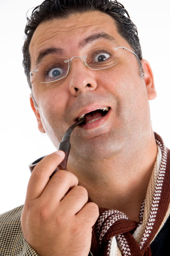 Download Man Holding Tobacco Pipe Giving Amazed Expression Royalty Free Stock Photography - Image: 7419427