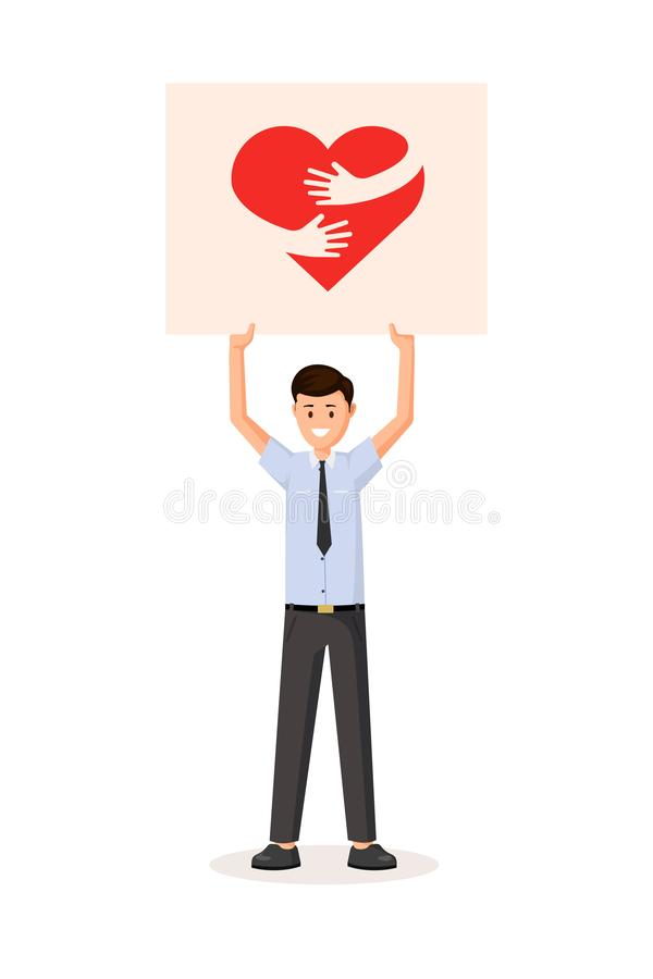 Man holding poster. Man holding transporant with heart. Flat style vector illustration. Colorful red hug sign logo on poster vector illustration