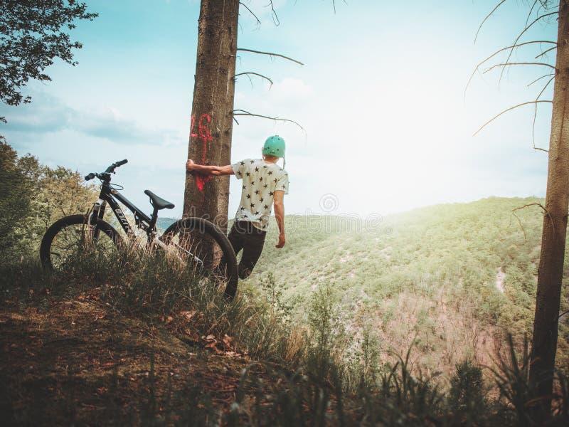 Man Holding Tree Enjoying the View Mountain royalty free stock photography