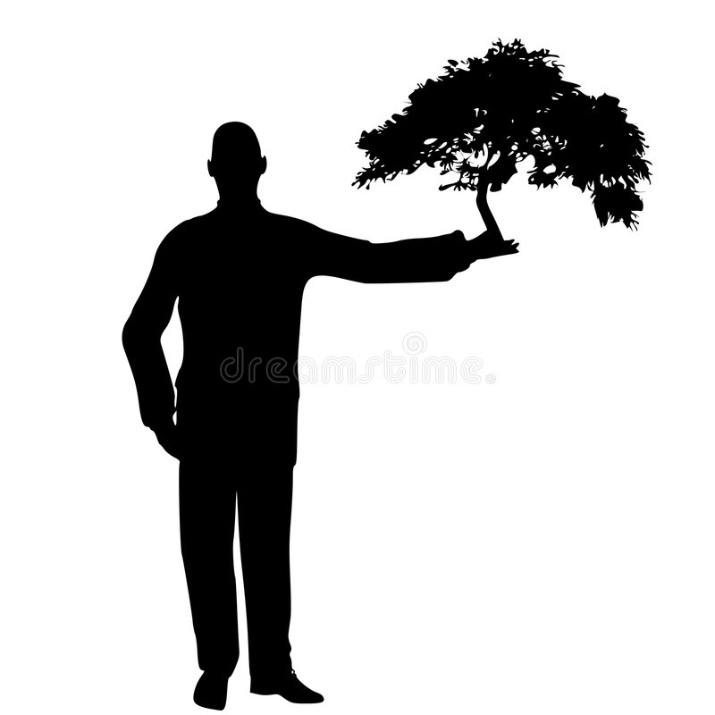 Man Holding Tree In Hand Royalty Free Stock Image