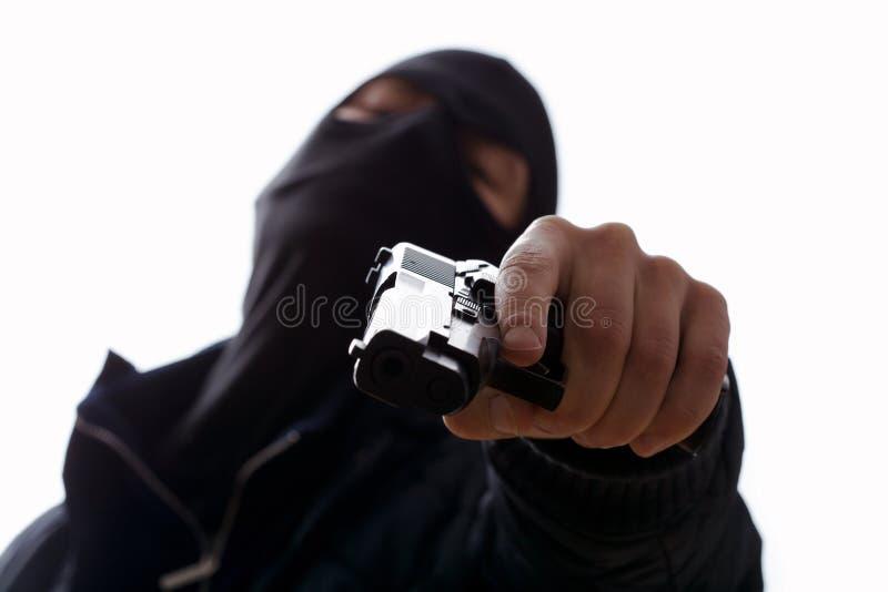 Man holding trigger stock image