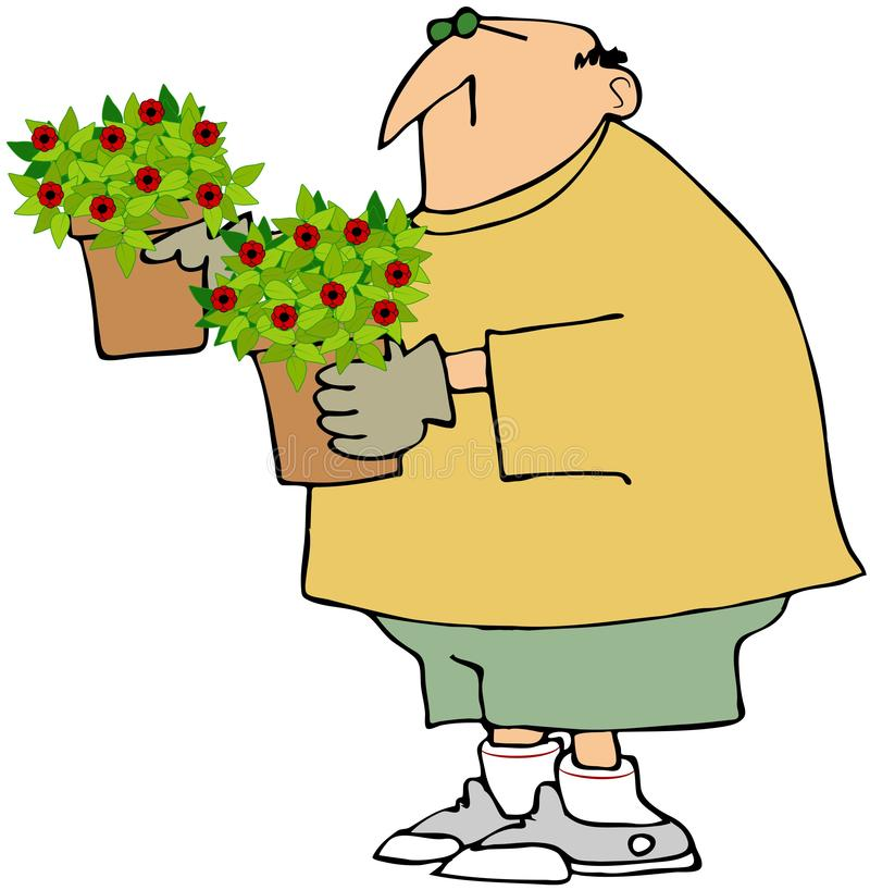 Man Holding Two Potted Plants