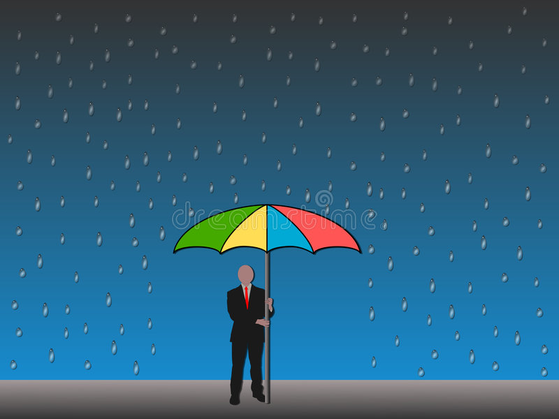 Download Man Holding Umbrella In Rain Stock Illustration - Image: 7082246