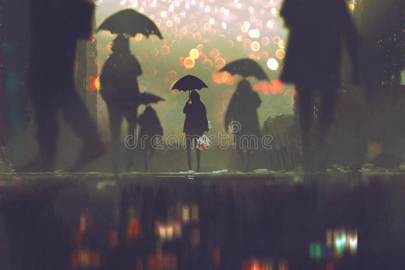 Man holding umbrella standing alone in a crowds of people. Man with flowers bouquet holding umbrella standing alone in a crowds of people crossing the street on vector illustration