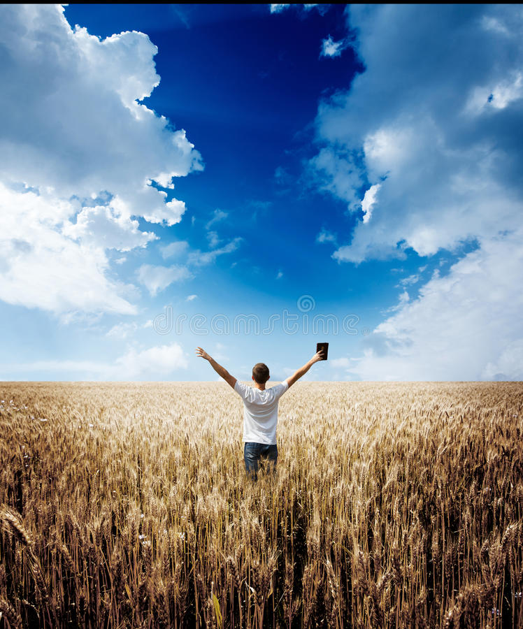 Man holding up Bible in a wheat field. With sky background stock photography