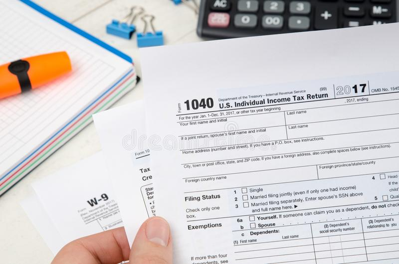 Man Holding Us Tax Form 1040 Editorial Photo Image Of American