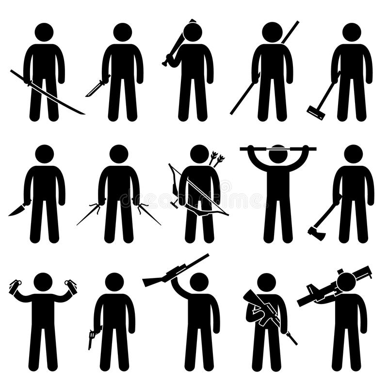 Man Holding and Using Weapons Icons. A set of human pictogram representing man holding a sword, knife, baseball bat, bo, hammer, short knife, sai, bow with arrow vector illustration
