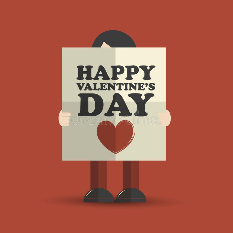Man holding valentines day folded poster. Abstract background stock illustration
