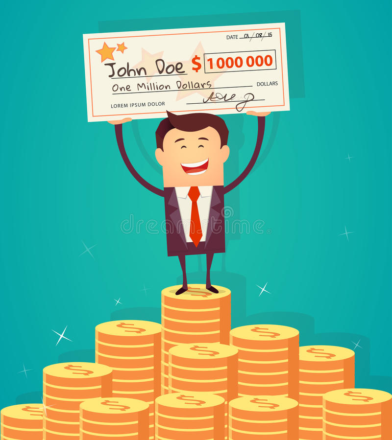 Man holding winning check for one million dollars. Vector illustration royalty free illustration