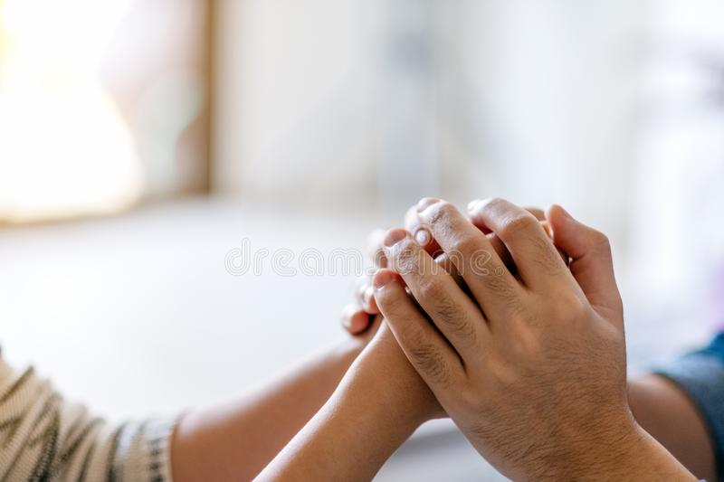 A man holding a woman`s hands to show love royalty free stock photos