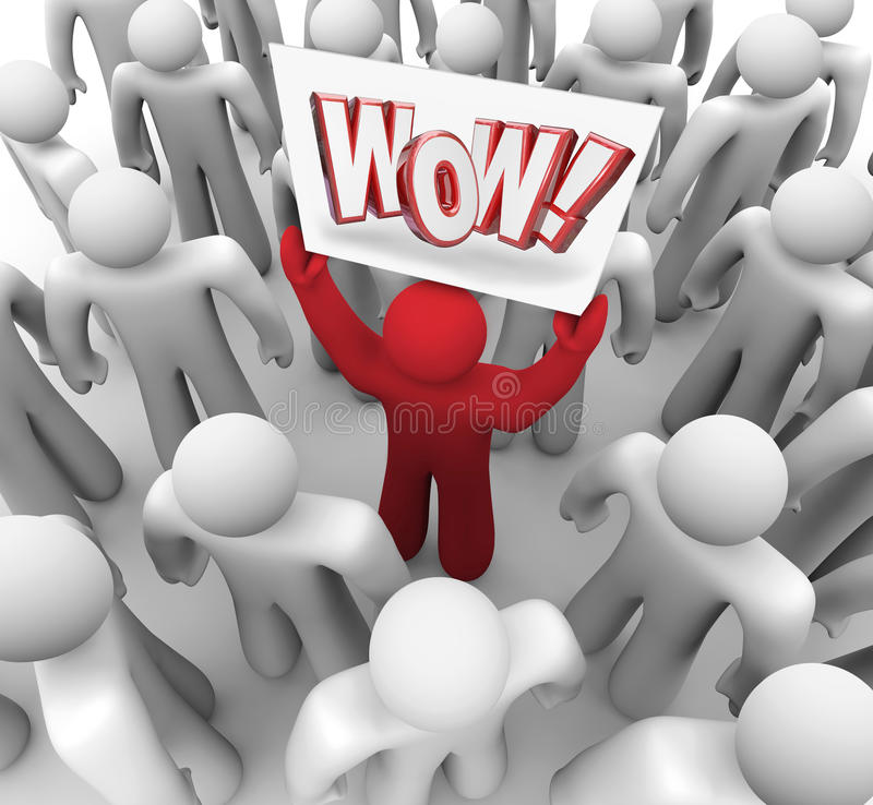 Man Holding Wow Sign in Crowd Suprise Customer Satisfaction royalty free illustration
