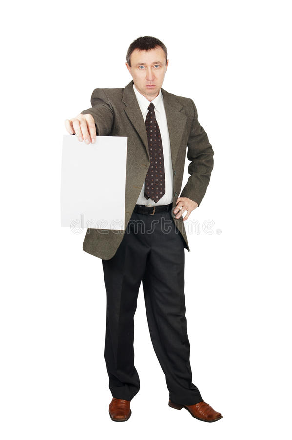 Download Man Holds A Blank Sheet Of Paper Stock Images - Image: 24015794