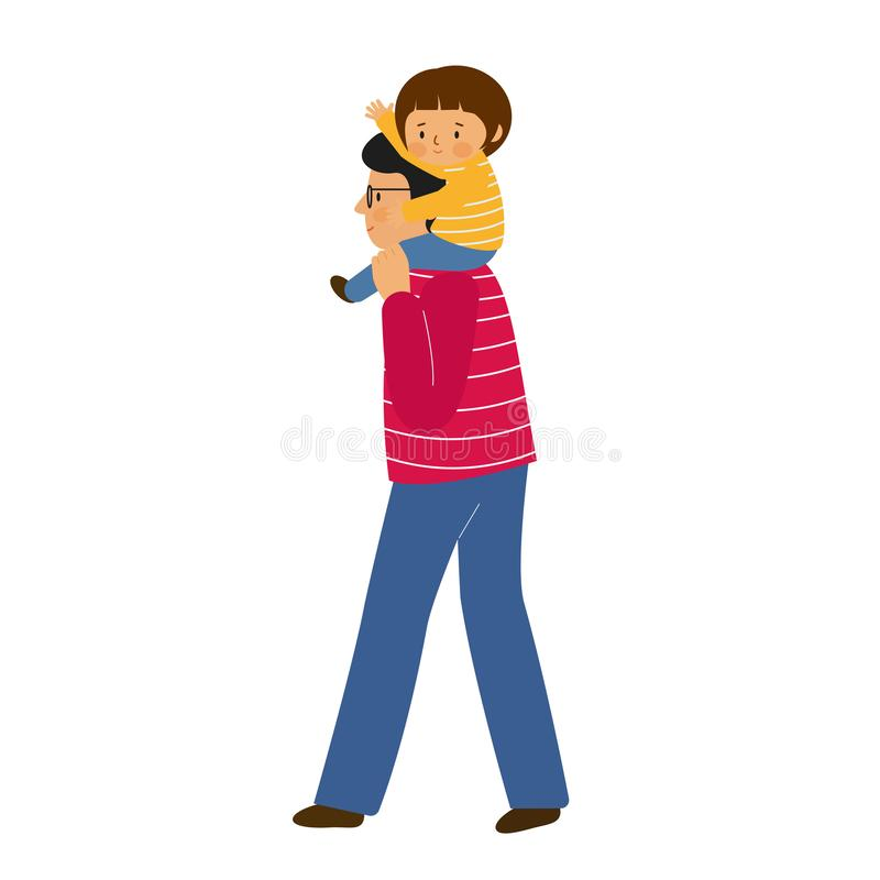 A man holds a girl on his shoulders. Father and daughter walk together. The child sits on his father`s shoulders and waving. royalty free illustration