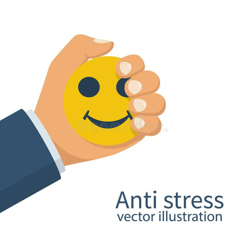 Man holds in hand squeezing an antistress ball. vector illustration