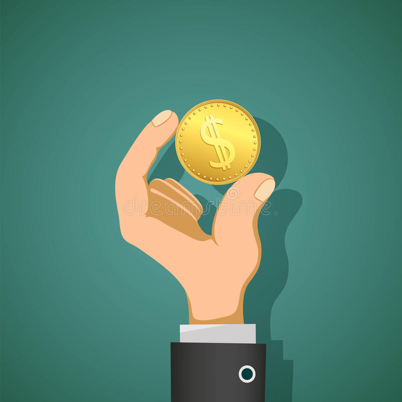 Man holds in his hand a gold coin dollar. Stock illustrat stock illustration
