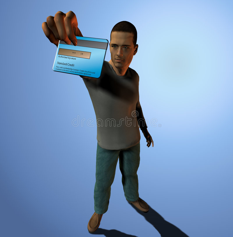Download Man holds out credit card stock illustration. Image of commerce - 2848255