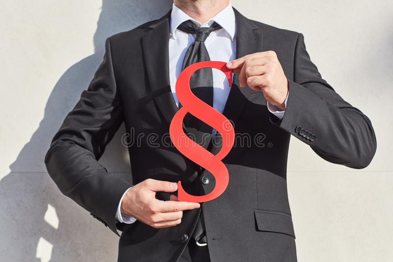 Paragraph as a sign of the law stock photography