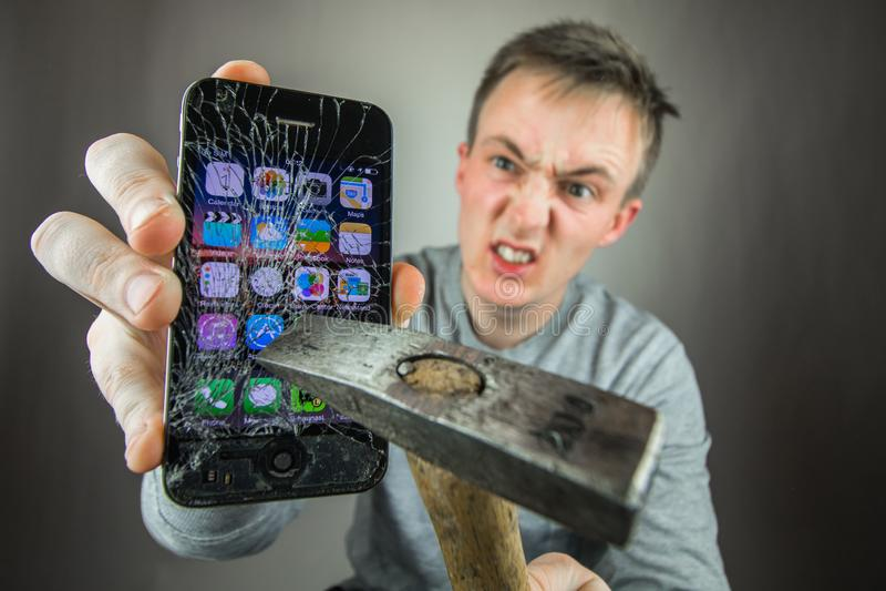 Screen broken smartphone royalty free stock photos
