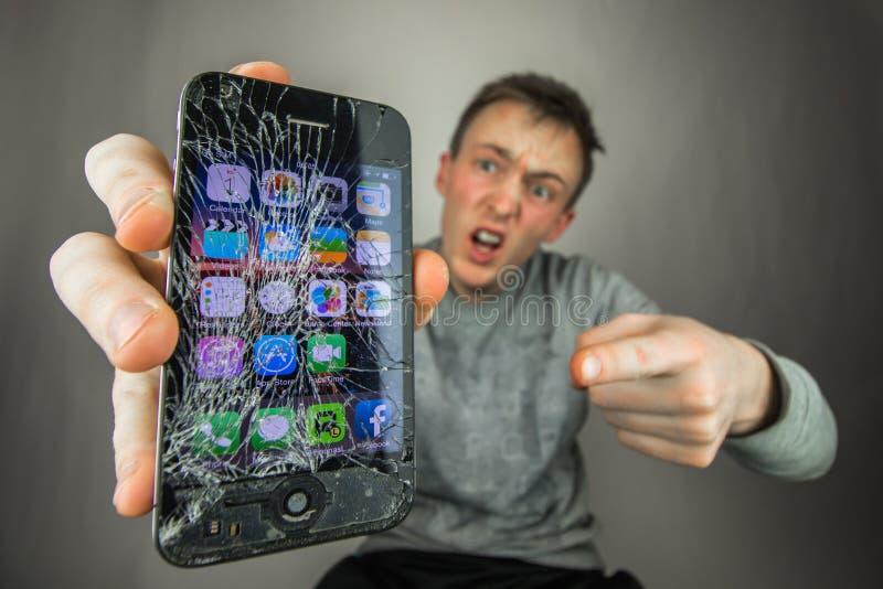 Screen broken smartphone royalty free stock images