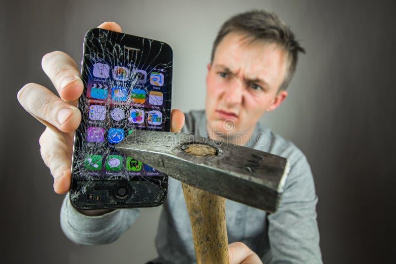 Screen broken smartphone royalty free stock photo