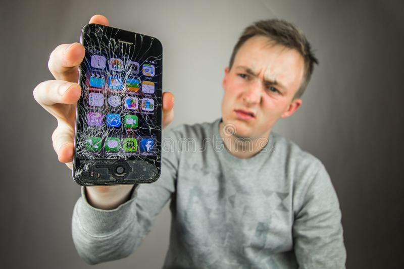 Screen cracked Iphone royalty free stock photography