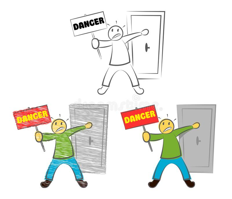 A Man Holds A Sign Danger. Funny character making stop gesture. Guy holding the Door. Passage Is Forbidden. Authorized personnel o stock illustration