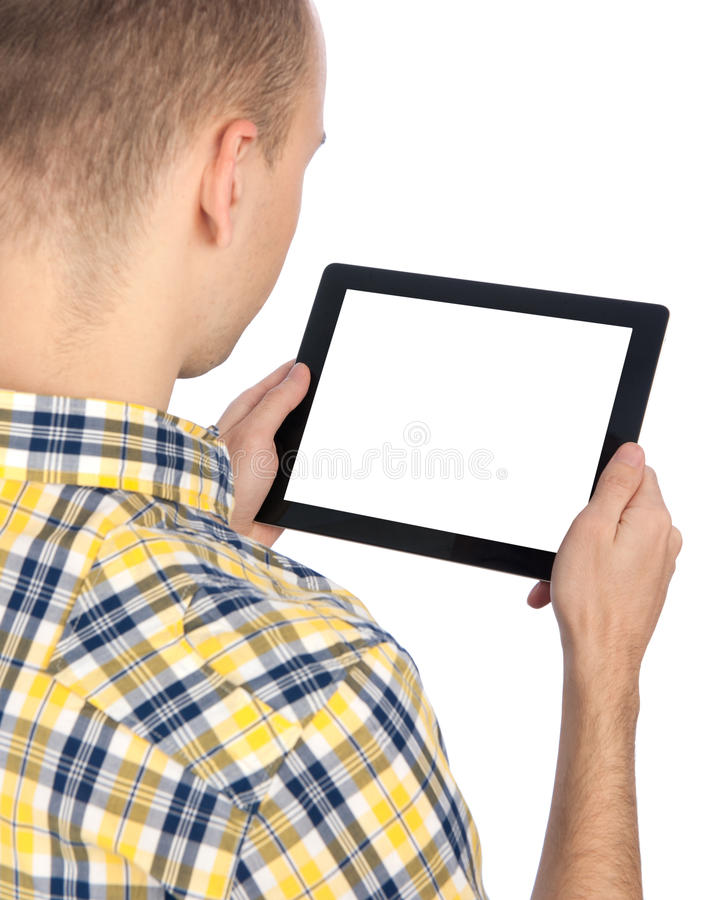 Man holds tablet computer royalty free stock photos