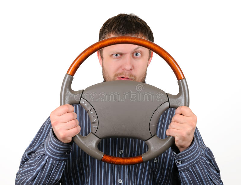 Download The Man Holds A Wheel In Hands Stock Photo - Image: 14831632