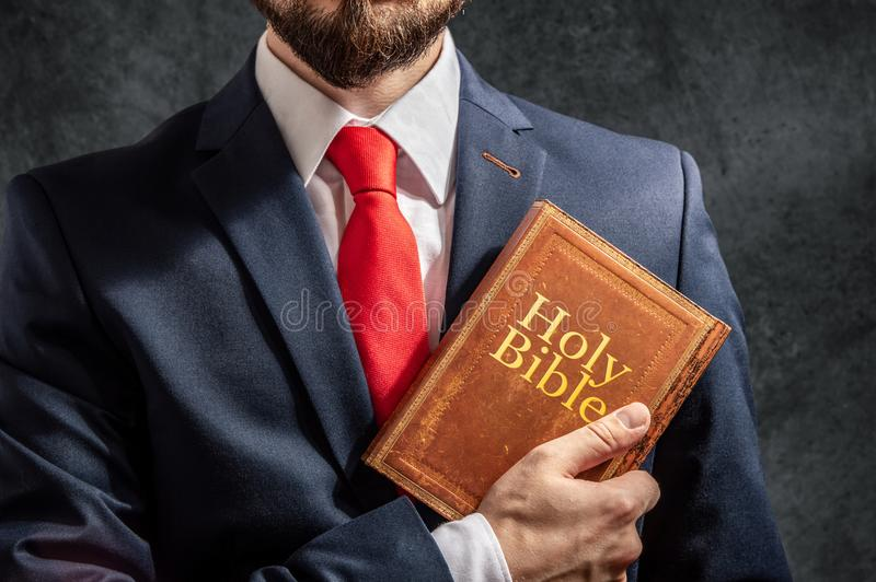 Man with holy bible stock image