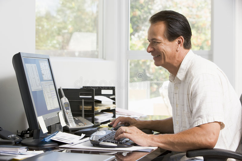 Download Man In Home Office At Computer Smiling Stock Image - Image: 5941851