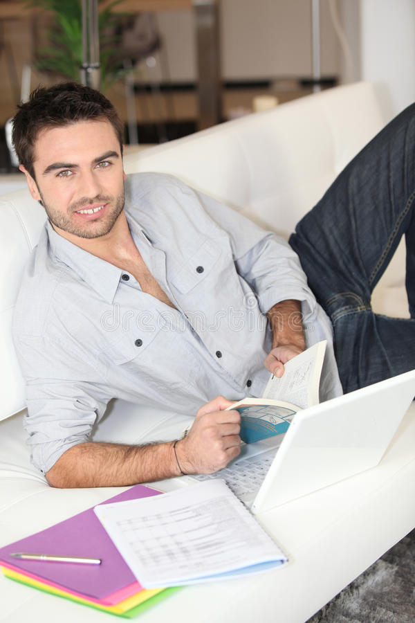 Download Man at home studying stock image. Image of people, home - 23102033