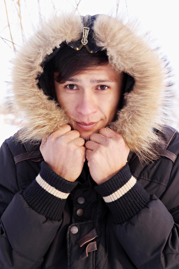 Download Man in a hood stock image. Image of coat, hair, adults - 34722335