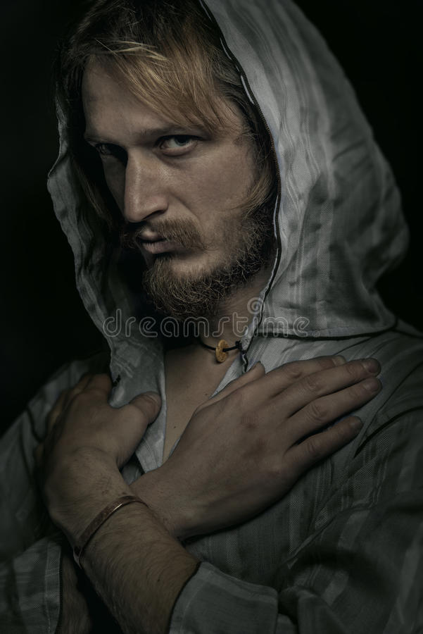 Man In The Hood Portrait stock photos