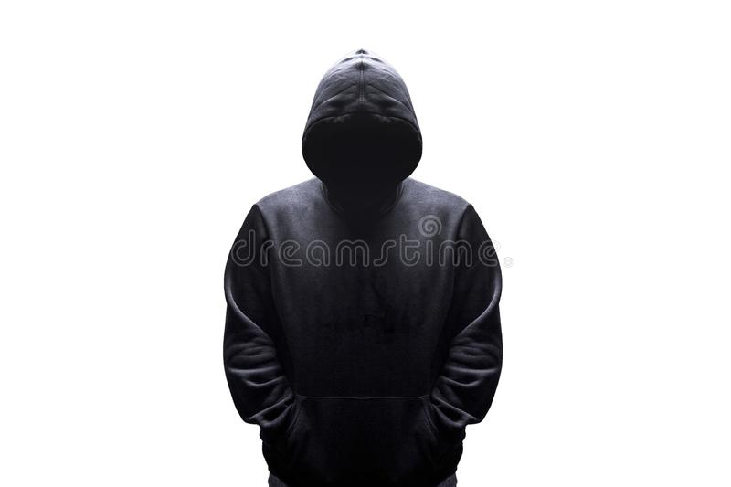 Man in hood silhouette stock images