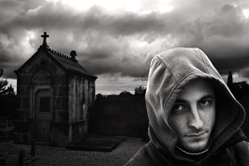 Man In Hoodie In Cemetery Free Public Domain Cc0 Image
