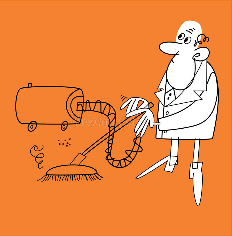 Download Man with a hoover stock vector. Illustration of vacuum - 10189796