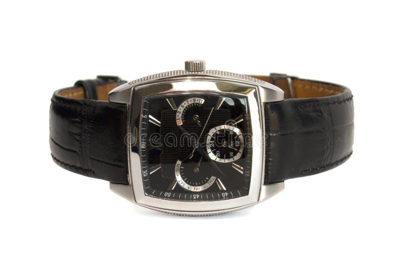 Man horloge met riem die op het wit wordt geïsoleerdt stock foto's