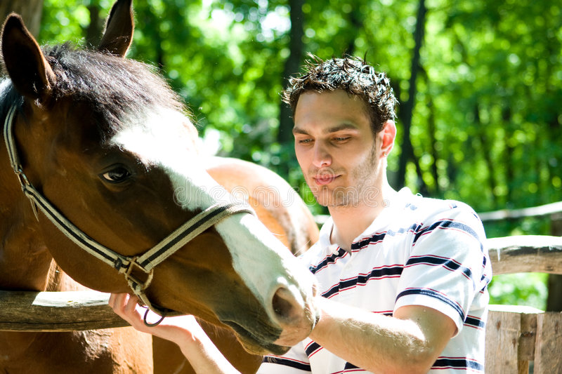Man With Horse Royalty Free Stock Image