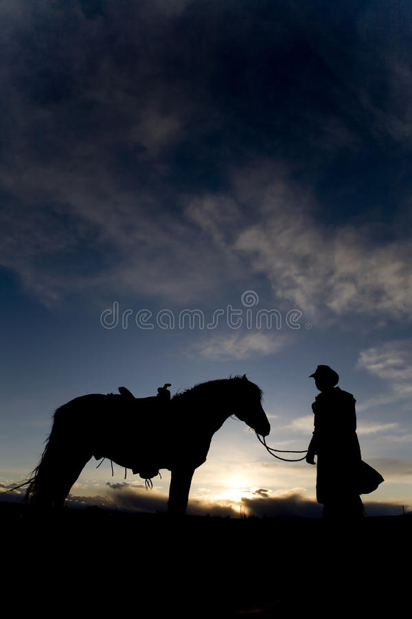 Man and horse in sunset stock photo