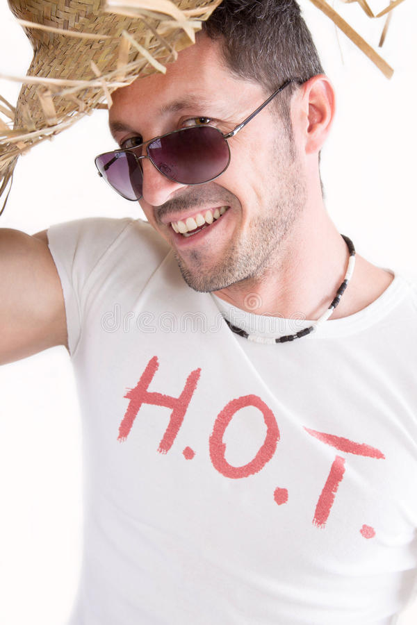 Man with HOT print on t-shirt