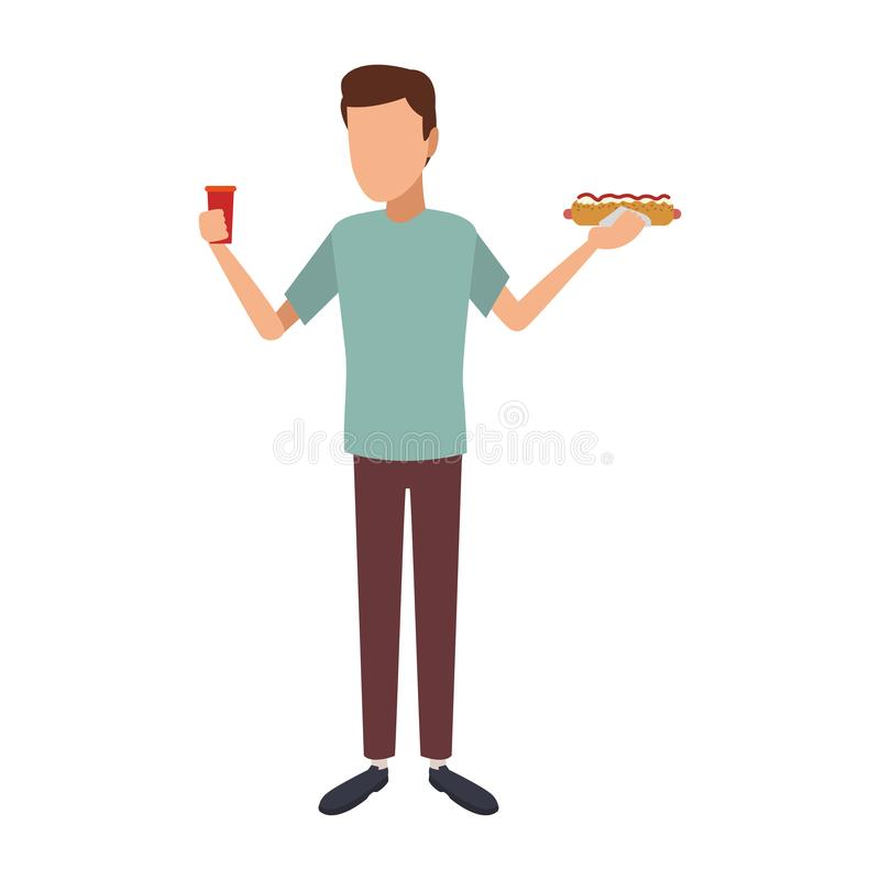 Man with hotdog and soda cup royalty free illustration