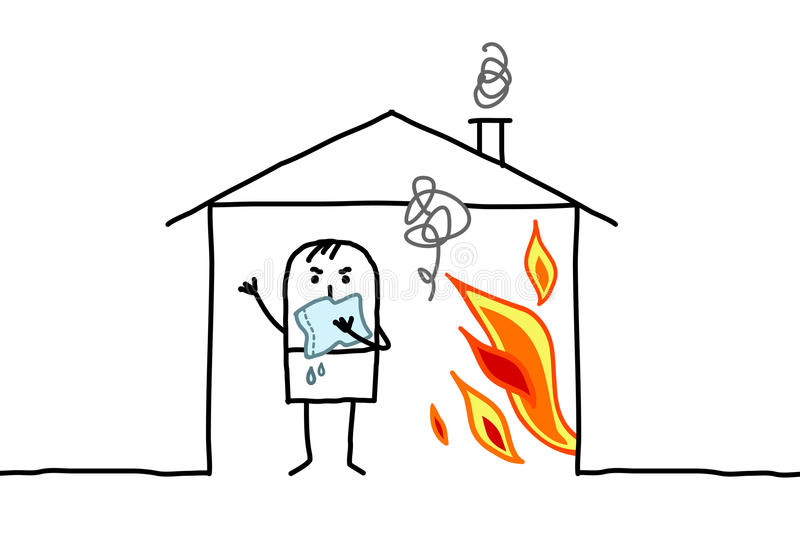 Man in house & fire. Hand drawn cartoon characters vector illustration