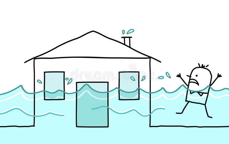 Man with house & flood vector illustration
