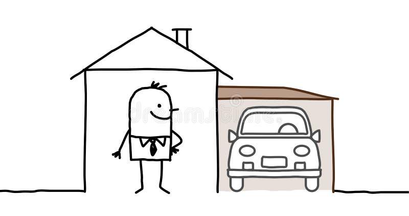 Man & house with garage. Hand drawn cartoon characters - man & house with garage stock illustration