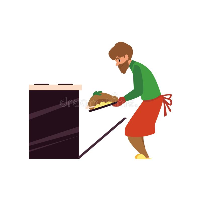 Man at household activities cooking flat cartoon vector illustration isolated. royalty free illustration