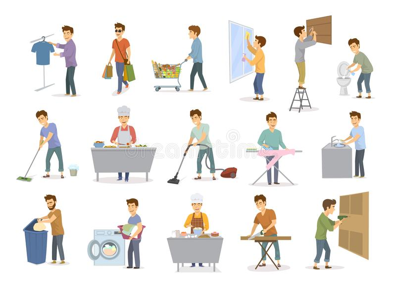 Man at household activities set, men shopping washing floor dishes toilet, cleaning home windows, vacuuming, repairing drilling co. Nstructing hammering, cooking vector illustration