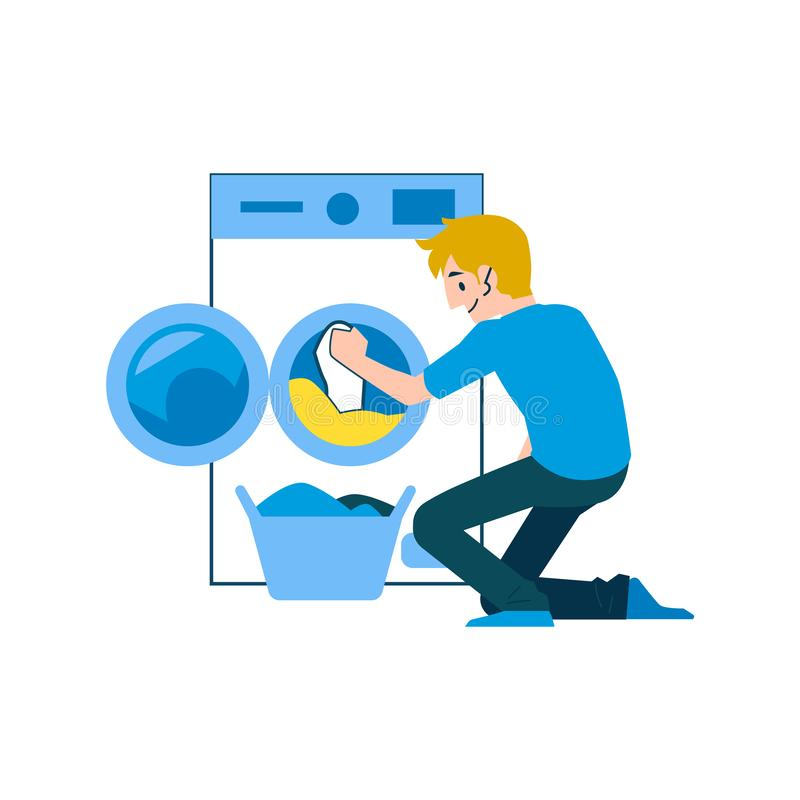 A man and a householder in jeans and a t shirt washes clothes in a washing machine. vector illustration