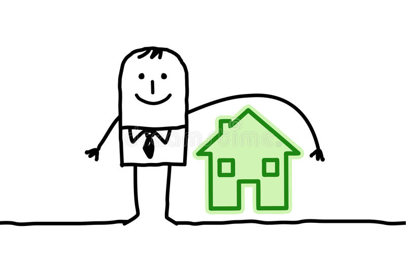 Man & housing insurance royalty free illustration