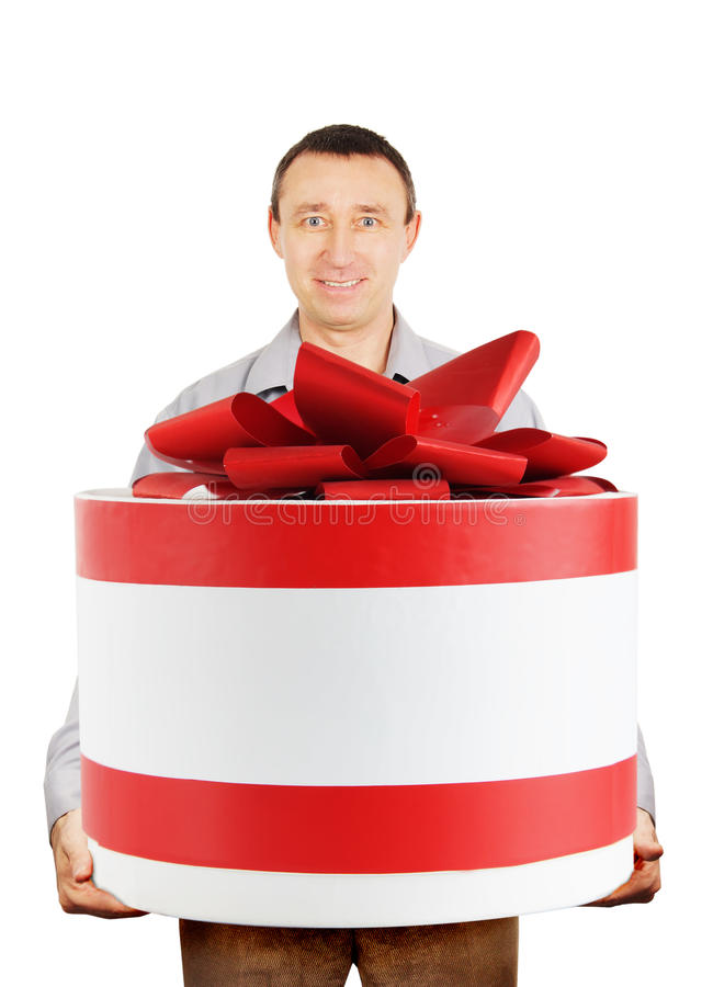 Man With A Huge Gift Stock Photos