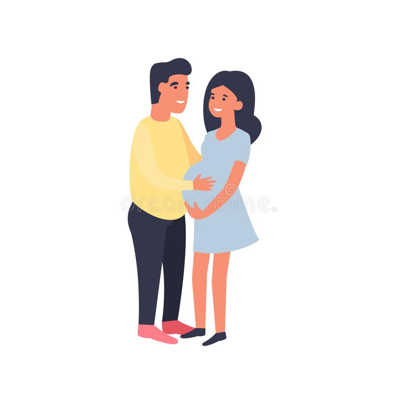 Man hugging pregnant woman and touching her belly. Happy couple. Man hugging pregnant woman and touching her belly. Pregnancy and motherhood. Cute flat cartoon stock illustration